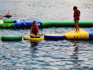 wibit lily pads are great family fun at austin lake campground in ohio