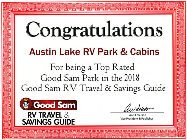 Austin Lake RV Park and Cabins was recognized by Good Sam as a Top Rated RV Park in the US