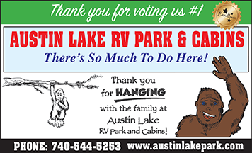 Austin Lake RV Park and Cabins voted #1 for camping in ohio