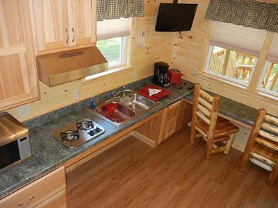 kitchen in blue heron cabin
