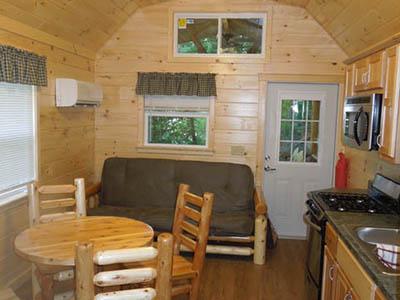 interior of keyhole cabin