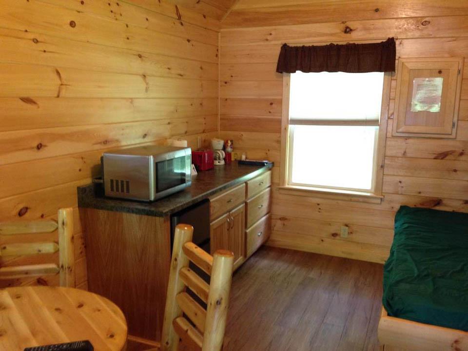 interior of rocky raccoon cabin