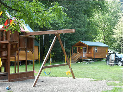playground at the train cabin