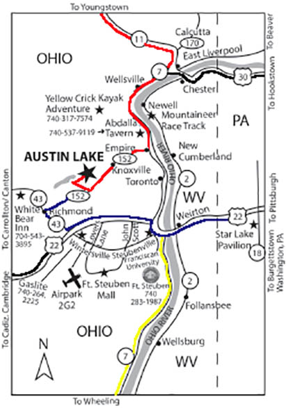 area map to get to austin lake rv park and cabins in toronto ohio