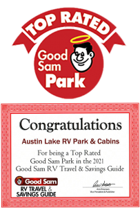 austin lake certificate for being a good sam top rated rv park