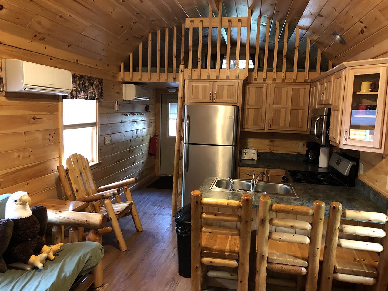 great blue heron cabin kitchen