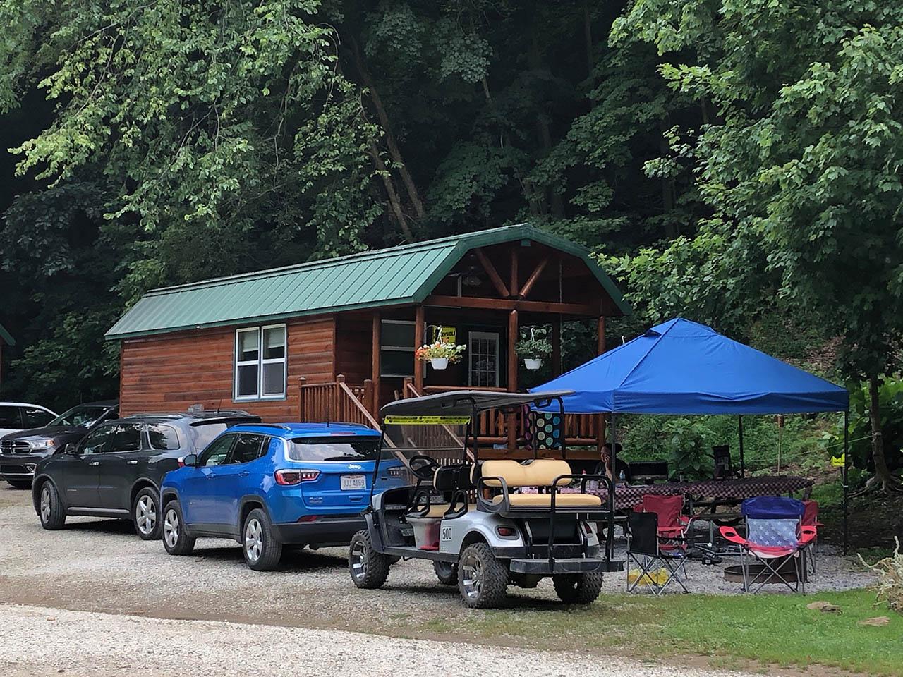golf cart at keyhole cabin